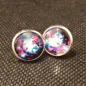 Jewelry - NWT Vibrant Galaxy Circle Earrings